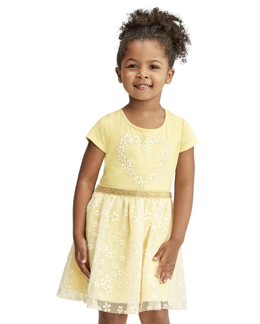 Baby And Toddler Girls Short Sleeve Glitter Heart Graphic Knit To Woven Tutu Dress