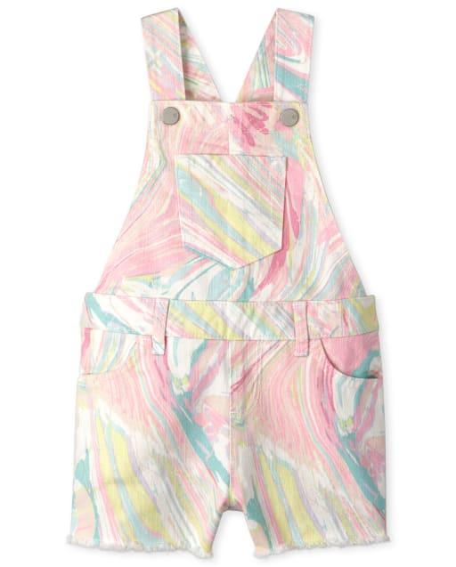 Baby And Toddler Girls Sleeveless Marble Print Twill Shortalls
