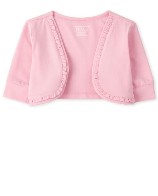 Toddler Girls Quarter Sleeve Mesh Ruffle Cropped Open Front Shrug
