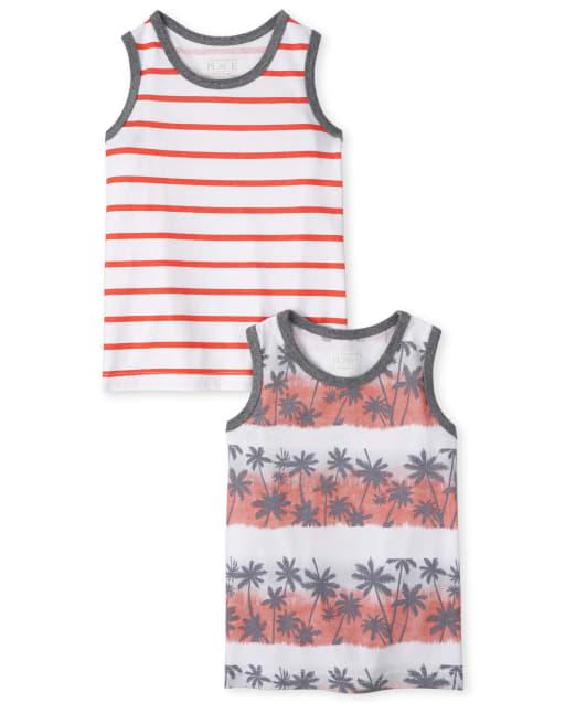 Pack de 2 camisetas sin mangas sin mangas de rayas y palmeras para bebés y niños pequeños