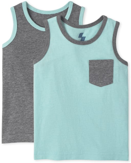 Baby And Toddler Boys Mix And Match Sleeveless Pocket Tank Top 2-Pack