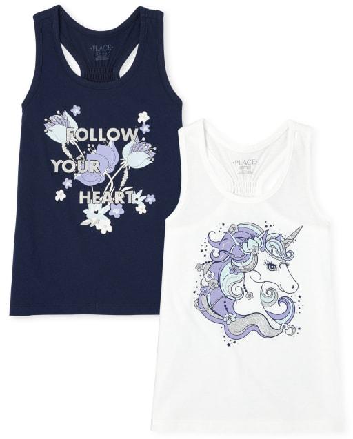 Pack de 2 camisetas sin mangas con espalda nadadora de unicornio para niñas