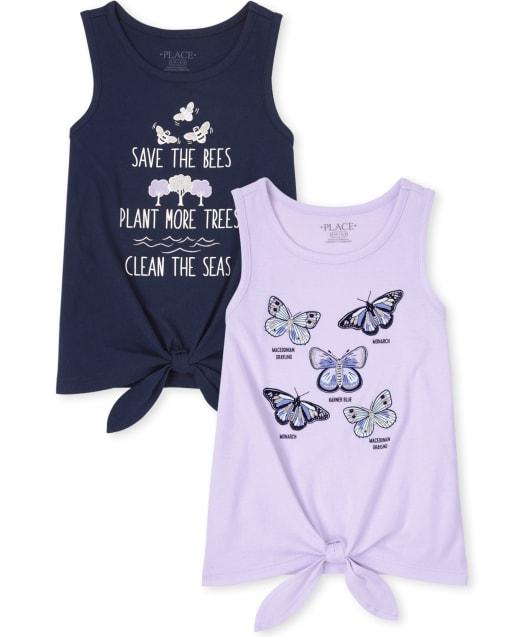 Pack de 2 camisetas sin mangas con lazo en la parte delantera para niñas Nature