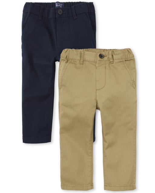 Baby And Toddler Boys Stretchy Skinny Woven Chino Pants 2-Pack