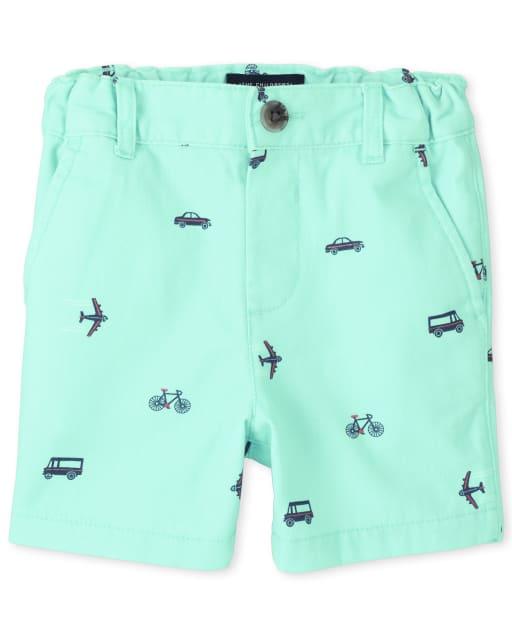 Baby And Toddler Boys Transportation Print Woven Chino Shorts