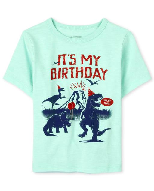 Camiseta de manga corta de cumpleaños para bebés y niños pequeños ' It ' s My Birthday ' Dino Graphic Tee
