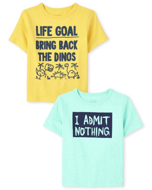 Paquete de 2 camisetas con gráfico de humor de manga corta para bebés y niños pequeños