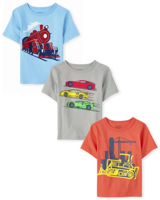 Paquete de 3 camisetas estampadas de transporte de manga corta para bebés y niños pequeños