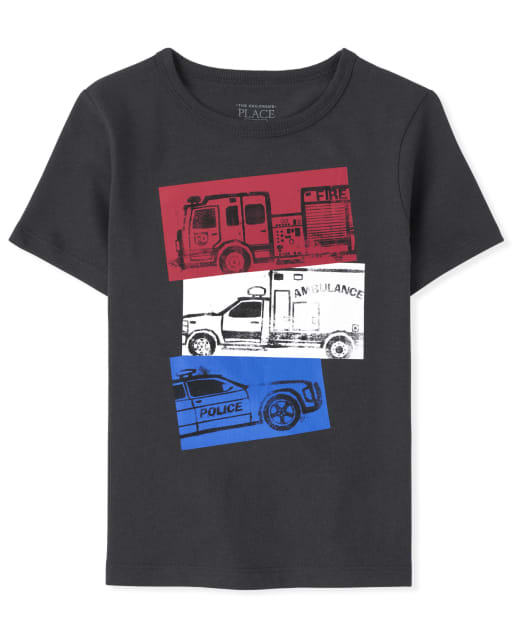 Boys Short Sleeve Rescue Vehicle Graphic Tee