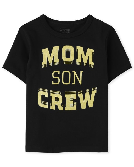 Baby And Toddler Boys Matching Family Short Sleeve 'Mom Son Crew' Graphic Tee