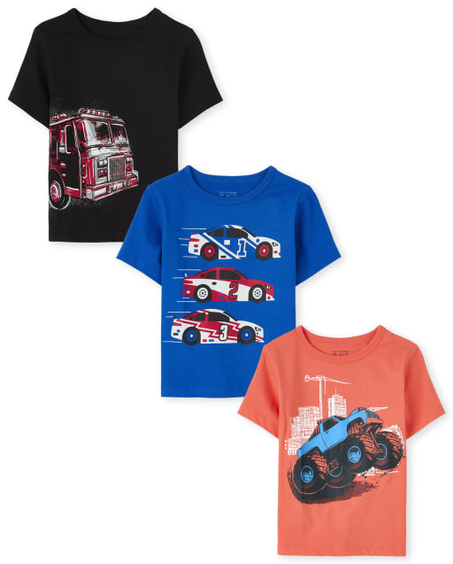 Baby And Toddler Boys Short Sleeve Transportation Graphic Tee 3-Pack