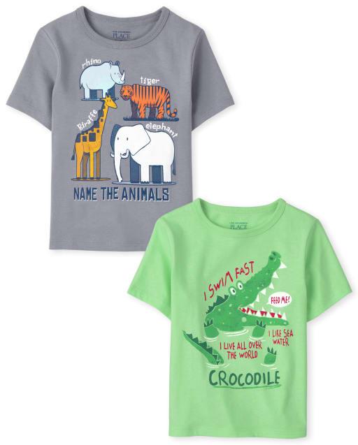 Pack de 2 camisetas estampadas de animales de manga corta para bebés y niños pequeños