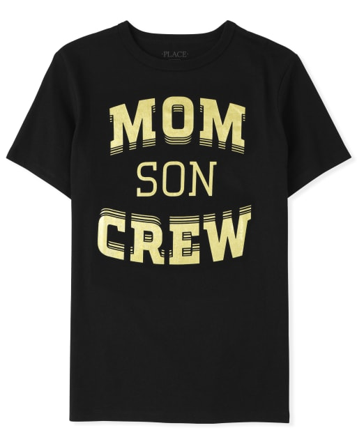 Boys Matching Family Short Sleeve 'Mom Son Crew' Graphic Tee