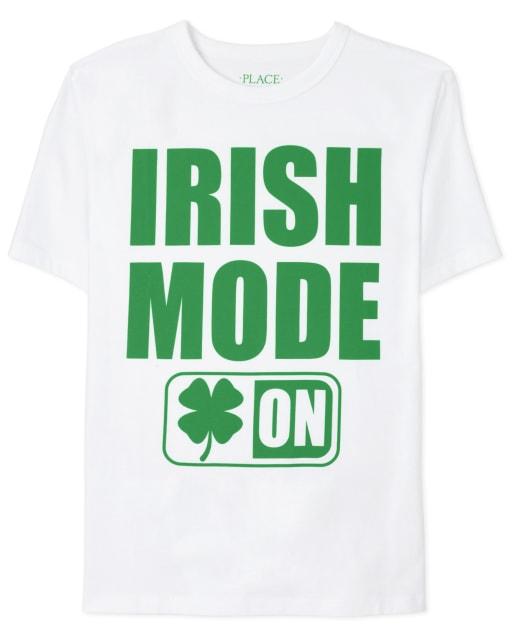 Boys St. Patrick's Day Short Sleeve 'Irish Mode On' Graphic Tee