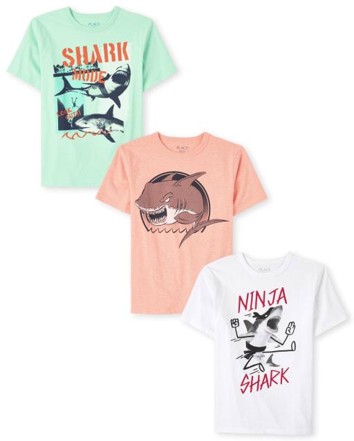 Pack de 3 camisetas de manga corta con estampado de tiburón para niños