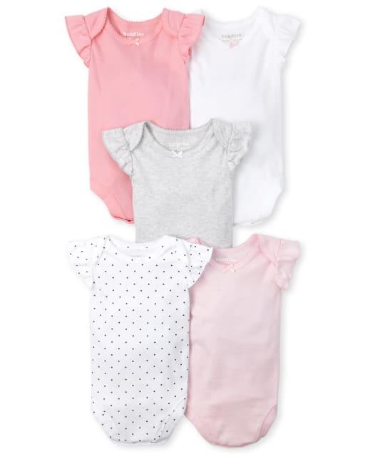 Baby Girls Short Flutter Sleeve Bodysuits 5-Pack