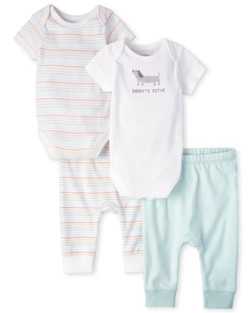 Baby Boys Short Sleeve Bodysuit And Knit Pants 4-Piece Essentials Set