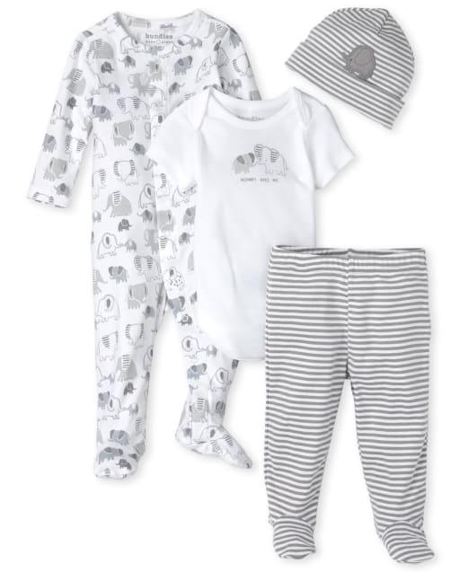 Unisex Baby Long Sleeve Elephant Print Sleep And Play Short Sleeve Elephant Bodysuit Striped Knit Pants And Striped Hat 4-Piece Take Me Home Set