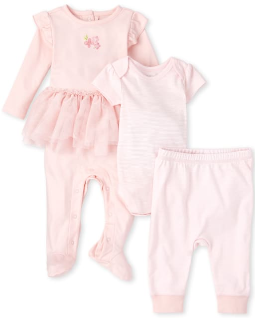 Baby Girls Short Sleeve Striped Bodysuit Knit Pants And Rose Tutu Coverall 3-Piece Set