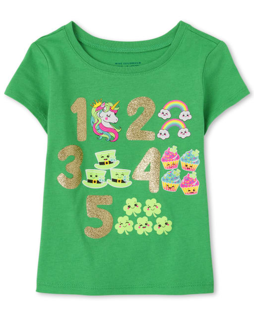 Baby And Toddler Girls St. Patrick's Day Short Sleeve Glitter Numbers Graphic Tee