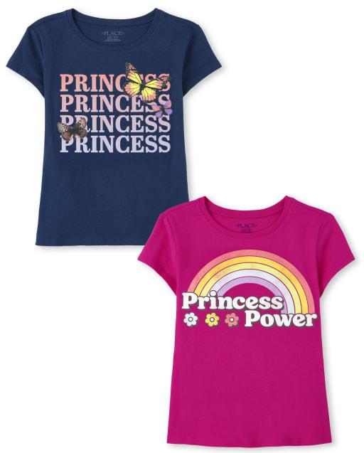 Girls Short Sleeve Princess Graphic Tee 2-Pack