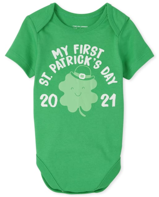 Unisex Baby And Toddler St. Patrick's Day Short Sleeve 'My First St. Patrick's Day 2021' Graphic Bodysuit
