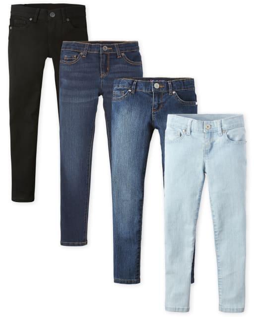 Girls Basic Super Skinny Jeans 4-Pack