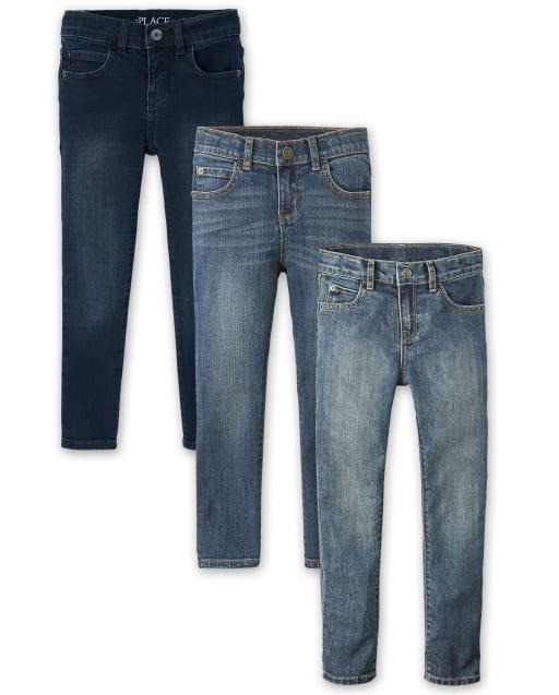 Paquete de 3 jeans ajustados elásticos para niños