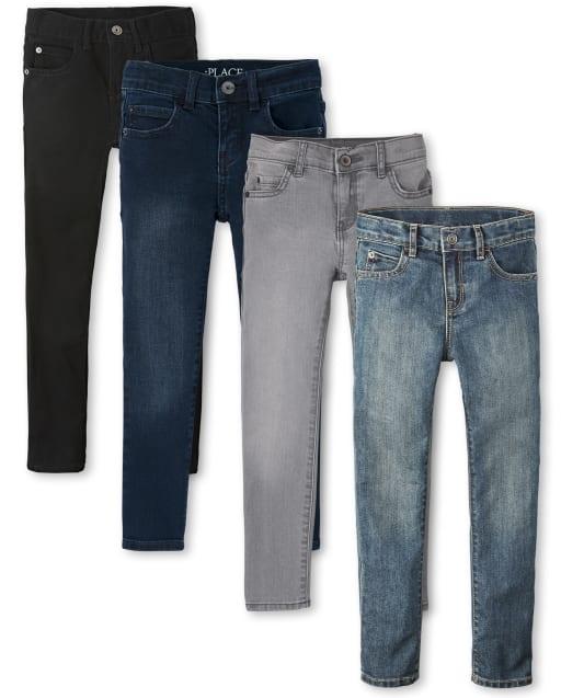 Paquete de 4 jeans ajustados elásticos para niños