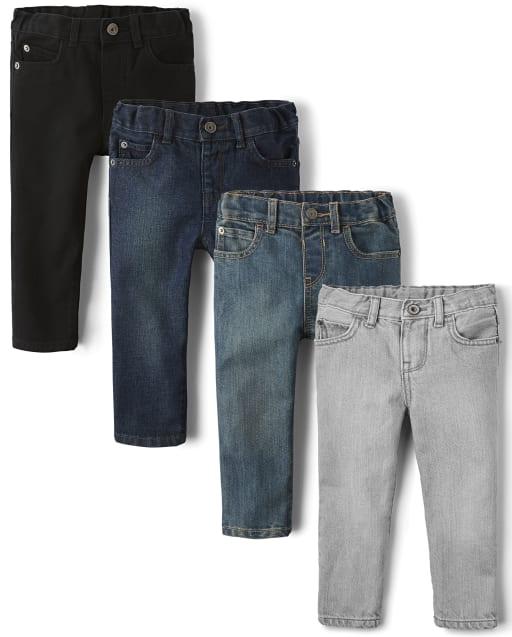 Paquete de 4 jeans ajustados básicos para bebés y niños pequeños