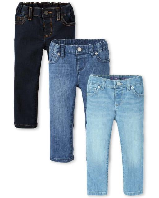 Paquete de 3 jeans súper ajustados básicos para bebés y niñas pequeñas