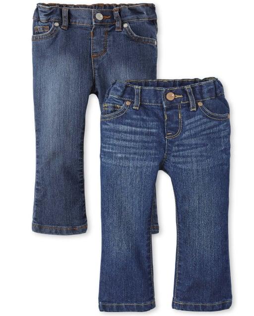 Paquete de 2 jeans bootcut básicos para bebés y niñas pequeñas