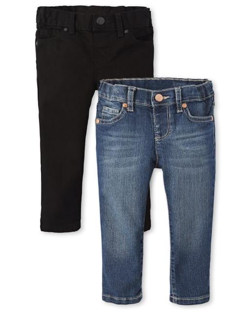 Paquete de 2 jeans ajustados básicos para bebés y niñas pequeñas