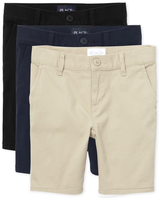 Paquete de 3 pantalones cortos chinos tejidos de uniforme para niñas