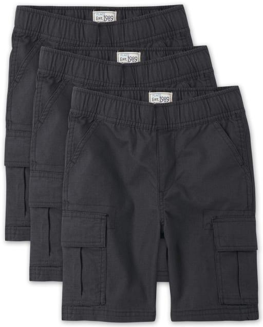 Paquete de 3 pantalones cortos tipo cargo sin tirantes tejidos de uniforme para niños