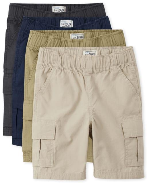 Paquete de 4 pantalones cortos tipo cargo con tejido de uniforme para niños