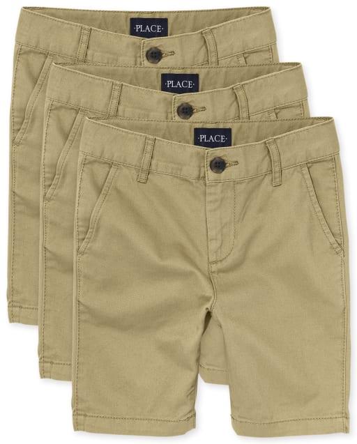 Paquete de 3 pantalones cortos chinos elásticos de uniforme para niños