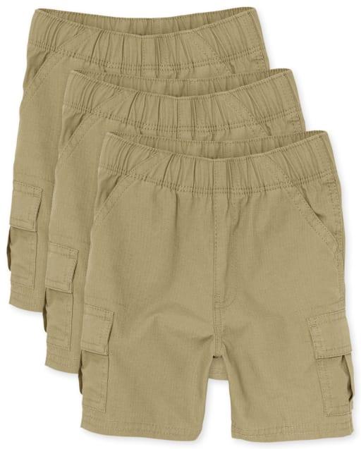 Paquete de 3 pantalones cortos tipo cargo sin tirantes tejidos de uniforme para niños pequeños
