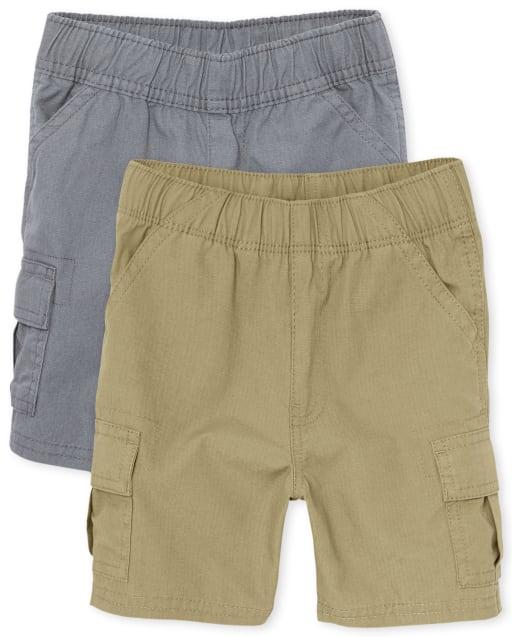 Paquete de 2 pantalones cortos tipo cargo sin tirantes tejidos de uniforme para niños pequeños