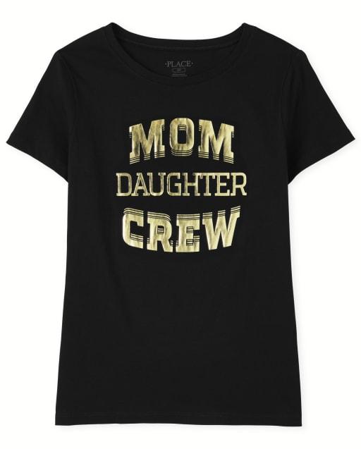 Womens Matching Family Short Sleeve 'Mom Daughter Crew' Graphic Tee