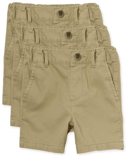 Paquete de 3 pantalones cortos chinos tejidos de uniforme para bebés y niños pequeños