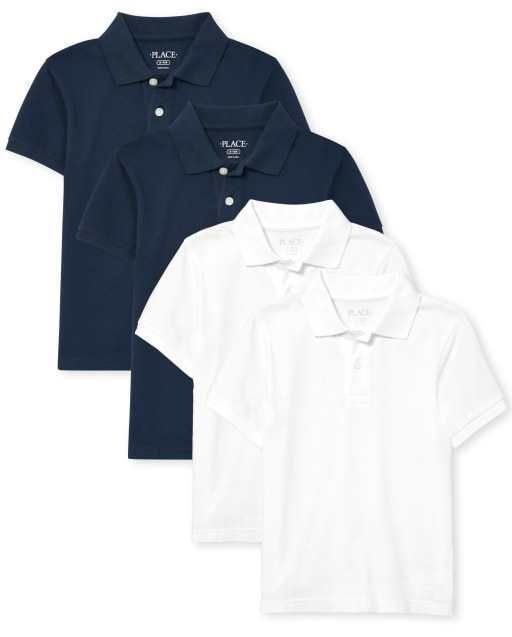 Pack de 4 polos de piqué de uniforme para niños