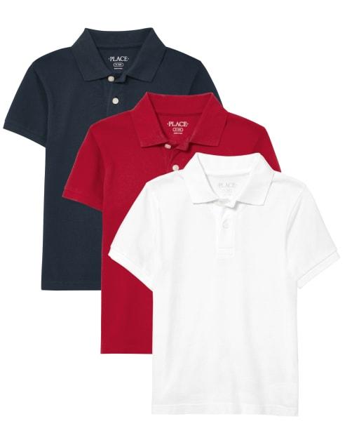 Pack de 3 polos de piqué de uniforme para niños