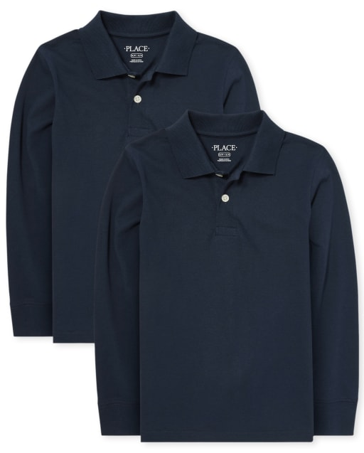 Boys Uniform Long Sleeve Soft Jersey Polo 2-Pack