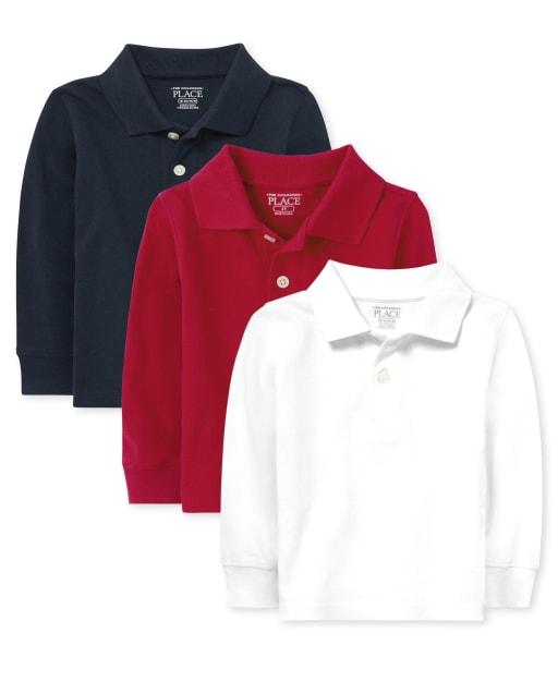 Conjunto de 3 polos de piqué de manga larga con uniforme para bebés y niños pequeños