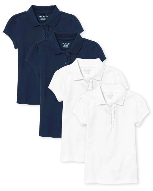 Girls Uniform Short Sleeve Ruffle Pique Polo 4-Pack