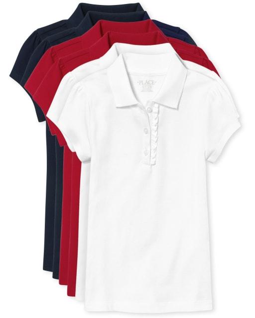 Girls Uniform Short Sleeve Ruffle Pique Polo 6-Pack