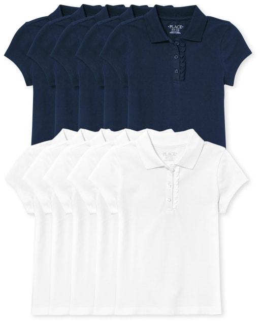 Girls Uniform Short Sleeve Ruffle Pique Polo 10-Pack