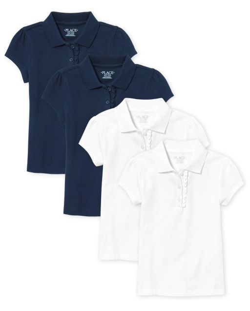 Toddler Girls Short Sleeve Uniform Ruffle Pique Polo 4-Pack