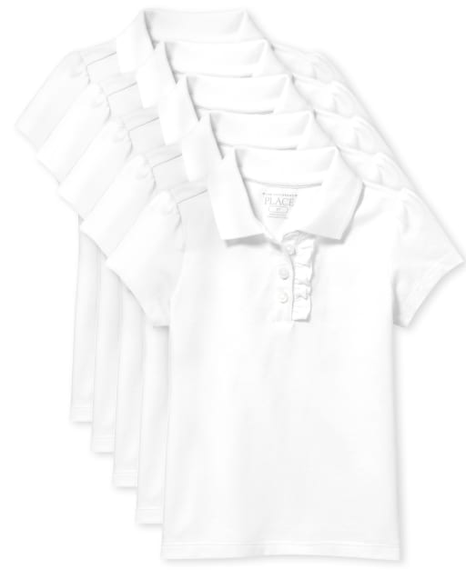Toddler Girls Uniform Short Sleeve Ruffle Pique Polo 5-Pack